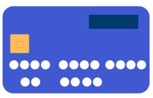 Une carte bleue en plastique par semaine